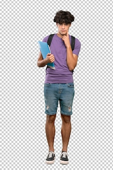 Young student man looking front