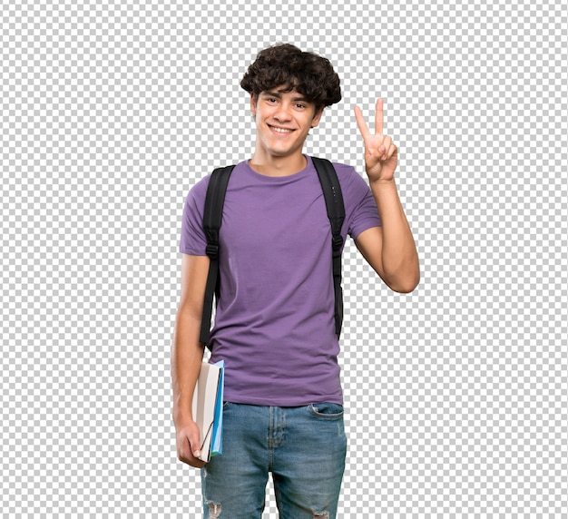 Young student man showing victory sign with both hands