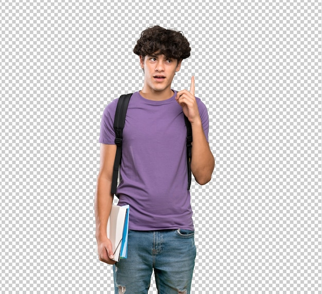 Young student man thinking an idea pointing the finger up