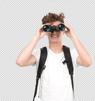 Young student using a binoculars