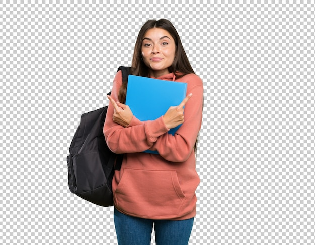 Young student woman holding notebooks pointing to the laterals having doubts