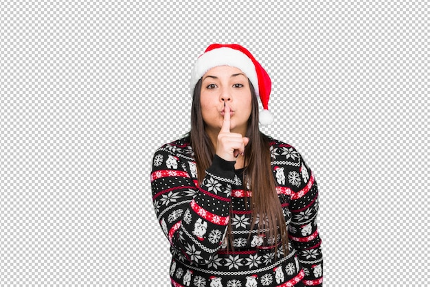 Young woman celebrating christmas day