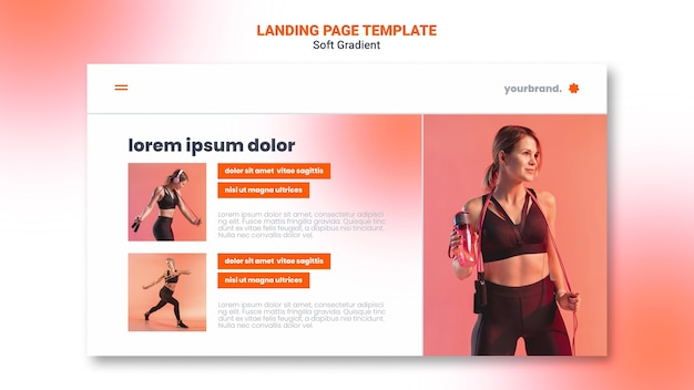 Young woman doing sport landing page