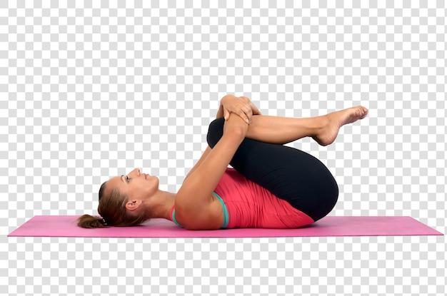 ヨガの練習をしている若い女性、レイヤードpsdファイル