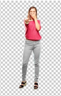 Young woman full body. gesturing looser sign
