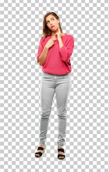 Young woman full body. with an anxious, stressed and nervous gesture, feeling under great pressure.