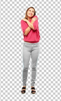 Young woman full body. with a proud, confident and happy look