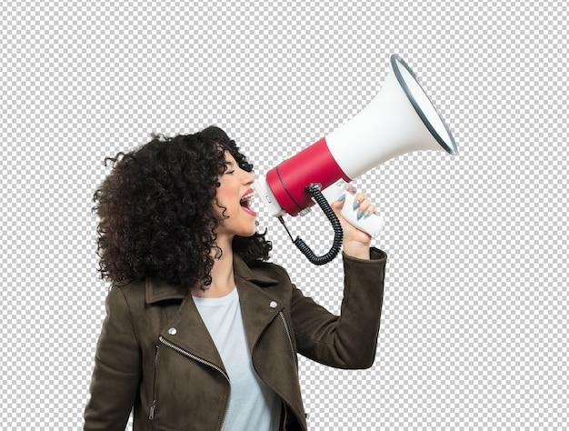 Молодая женщина держит мегафон