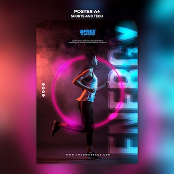 フィットネスポスターの若い女性