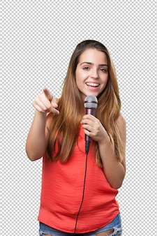 Young woman singing with a microphone