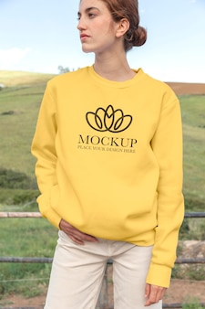 Young woman wearing a mock-up hoodie