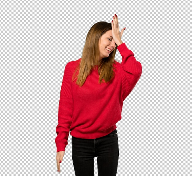 Young woman with red sweater has realized something and intending the solution