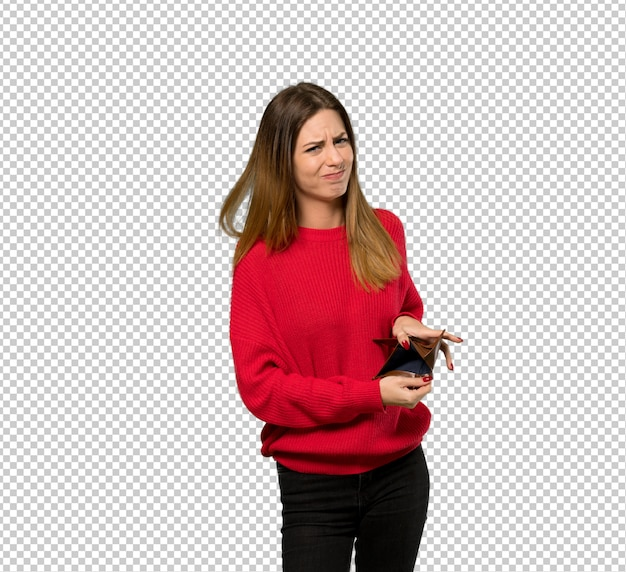 Молодая женщина с красной кофте держит кошелек