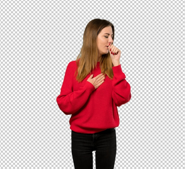 Young woman with red sweater is suffering with cough and feeling bad