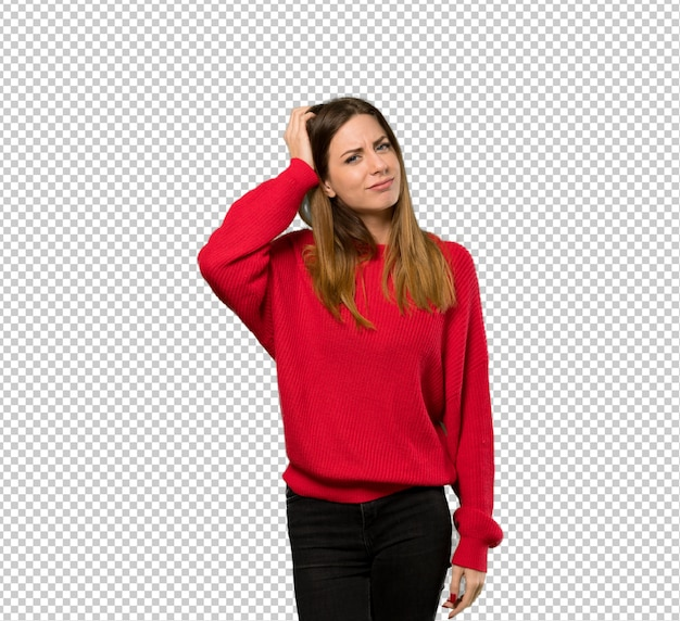 Young woman with red sweater with an expression of frustration and not understanding