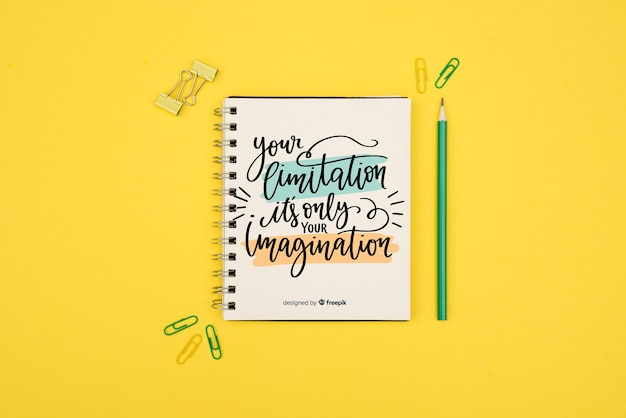 Your limitation is only your imagination quote on yellow background