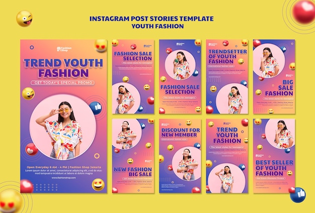 Youth fashion concept instagram post template