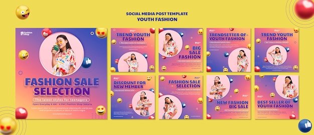 Youth fashion concept social media post template