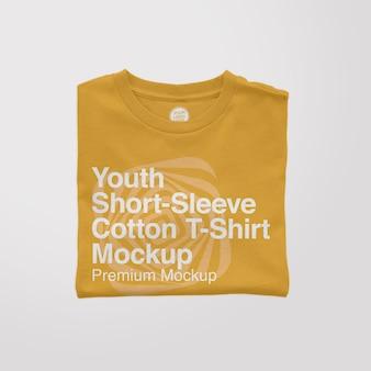 청소년 shortsleeve 면 접힌 t셔츠 모형