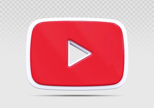Youtube 3d значок визуализации концепции творческого
