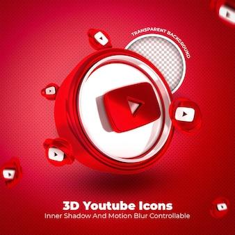 Youtube 3d 아이콘 소셜 미디어 투명 배경
