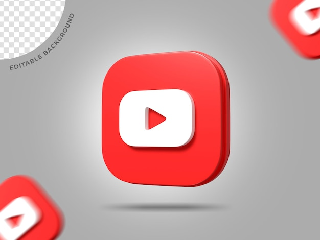 Youtube 3d logo социальные медиа рендеринг фон редактируемый значок