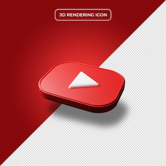 Youtube 3d render icon isolated