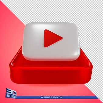 Youtube 3d rendering icon isolated