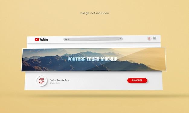 Youtubeカバーまたはバナーモックアップ3dレンダリングされたインターフェース
