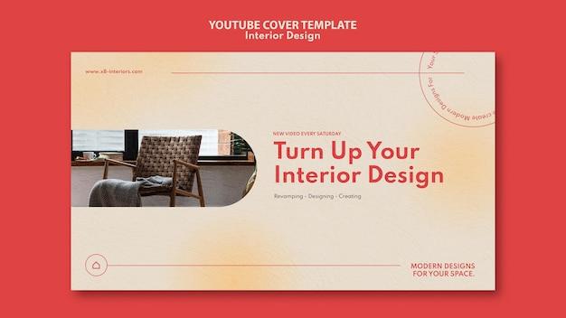 Modello di copertina di youtube per l'interior design