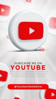 Youtube glossy logo and social media icons story