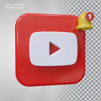 벨 알림이 있는 youtube 아이콘 3d 개념