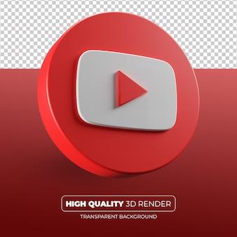 Youtube значок 3d визуализации изолированные