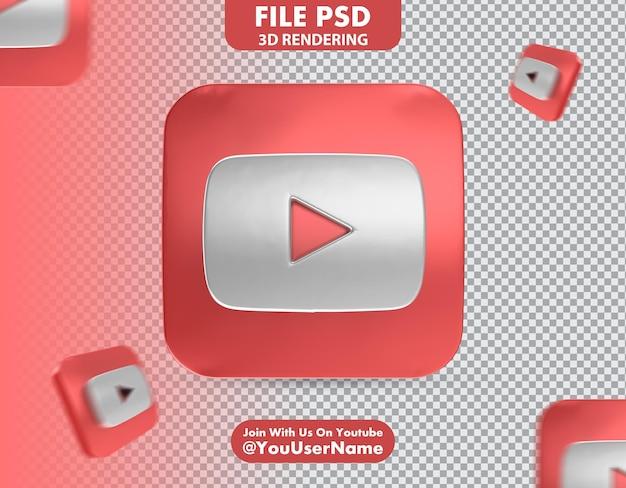유튜브 아이콘 3d 렌더링