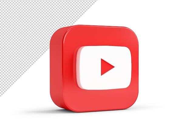 3d 렌더링의 youtube 아이콘 모형