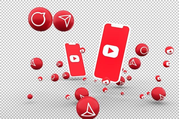 Значок youtube на экране смартфона и реакции youtube любят смайлики 3d рендеринга