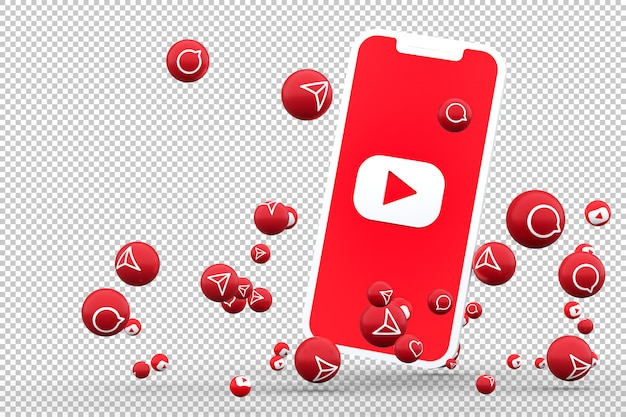 Youtube icon on screen smartphone and youtube reactions love emoji 3d render on transparent background