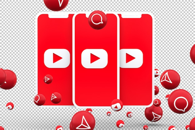 Youtube icon on screen smartphone and youtube reactions love emoji 3d render