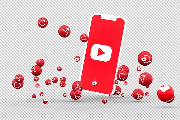 Youtube icon on screen smartphones and youtube reactions