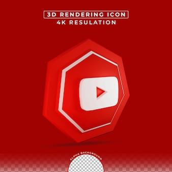 3d 렌더링의 youtube 아이콘 소셜 미디어