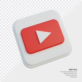 고립 된 둥근 모서리 사각형에 유튜브 아이소메트릭 3d 스타일 로고 개념 아이콘