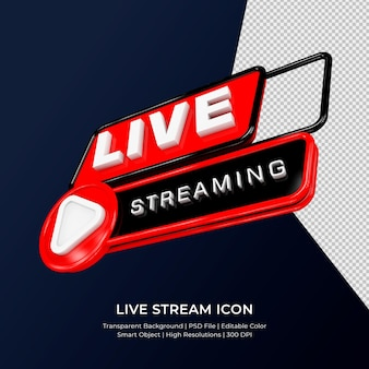 Youtube live streaming 3d render icon badge isolated