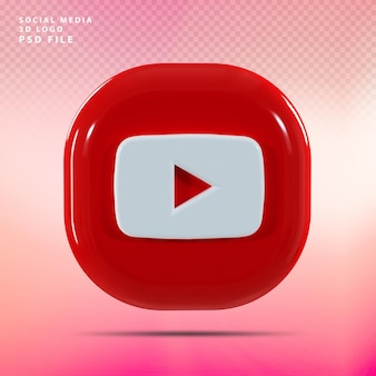 Youtube 로고 3d 렌더링 럭셔리