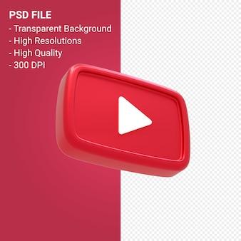 Youtube логотип 3d-рендеринга изолированные