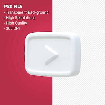 Youtube logo 3d rendering isolated
