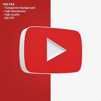 Youtube 로고 3d 렌더링 절연