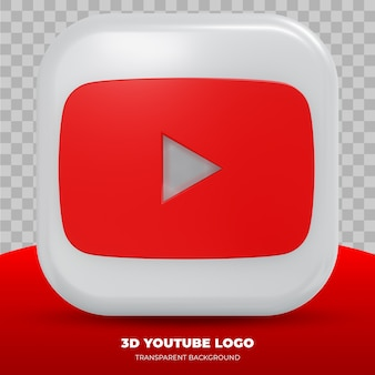 Youtube logo isolated in 3d rendering