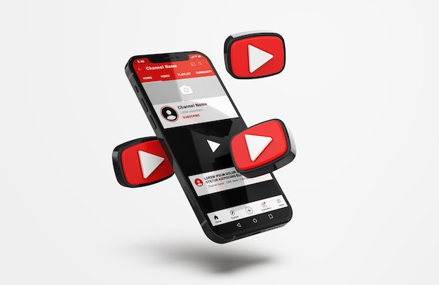 Youtube on mobile phone mockup with 3d icons