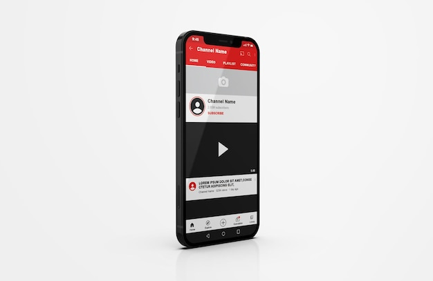 Youtube on mobile phone mockup