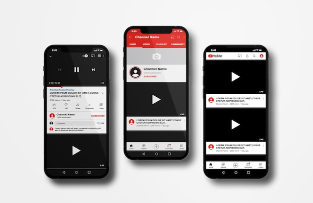 Youtube on mobile phone mockup